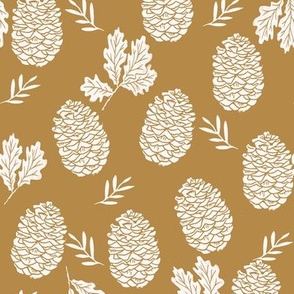 pinecone fabric // pinecone winter camping woodland linocut fabric - ochre