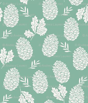 pinecone fabric // pinecone winter camping woodland linocut fabric- green