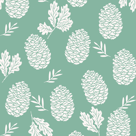 pinecone fabric // pinecone winter camping woodland linocut fabric- green fabric by andrea_lauren on Spoonflower - custom fabric