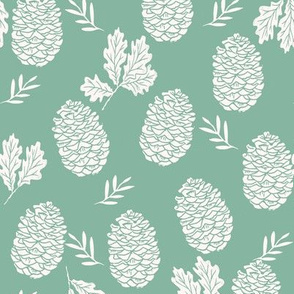 pinecone fabric // pinecone winter camping woodland linocut fabric- green