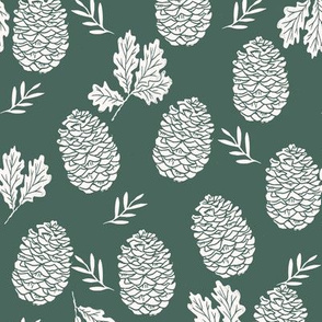 pinecone fabric // pinecone winter camping woodland linocut fabric - dark green