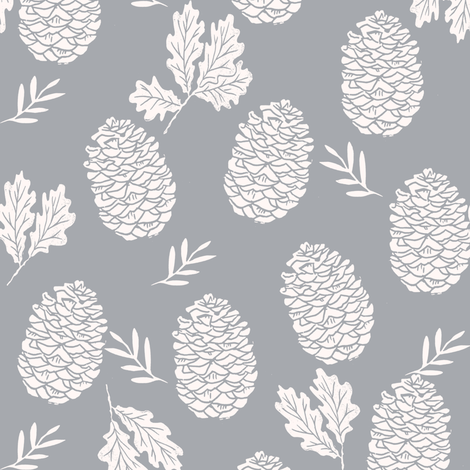pinecone fabric // pinecone winter camping woodland linocut fabric - grey fabric by andrea_lauren on Spoonflower - custom fabric