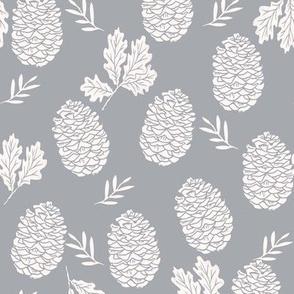 pinecone fabric // pinecone winter camping woodland linocut fabric - grey