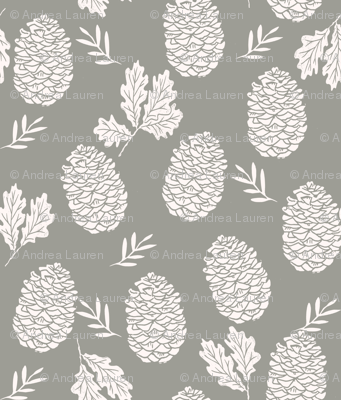 pinecone fabric // pinecone winter camping woodland linocut fabric -grey