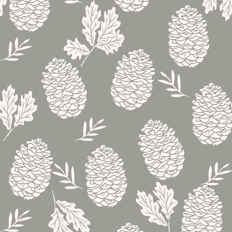 pinecone fabric // pinecone winter camping woodland linocut fabric -grey fabric by andrea_lauren on Spoonflower - custom fabric