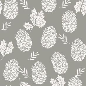 pinecone fabric // pinecone winter camping woodland linocut fabric -grey