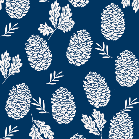pinecone fabric // pinecone winter camping woodland linocut fabric - navy fabric by andrea_lauren on Spoonflower - custom fabric