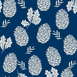 pinecone fabric // pinecone winter camping woodland linocut fabric - navy