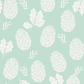 pinecone fabric // pinecone winter camping woodland linocut fabric - mint