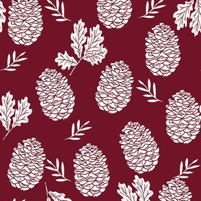 pinecone fabric // pinecone winter camping woodland linocut fabric - maroon
