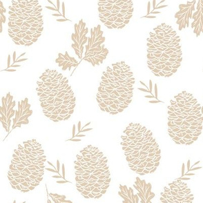 pinecone fabric // pinecone winter camping woodland linocut fabric - tan
