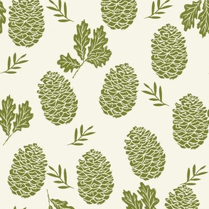 pinecone fabric // pinecone winter camping woodland linocut fabric - cream and green