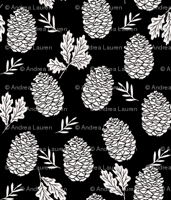 pinecone fabric // pinecone winter camping woodland linocut fabric - black