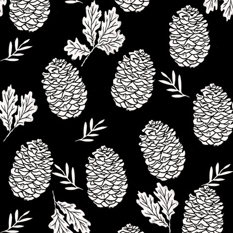 pinecone fabric // pinecone winter camping woodland linocut fabric - black fabric by andrea_lauren on Spoonflower - custom fabric