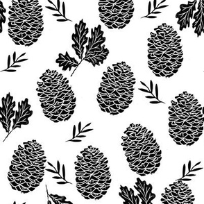 pinecone fabric // pinecone winter camping woodland linocut fabric - white