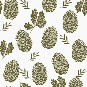 pinecone fabric // pinecone winter camping woodland linocut fabric - dark olive