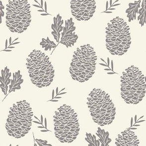 pinecone fabric // pinecone winter camping woodland linocut fabric - cream and grey