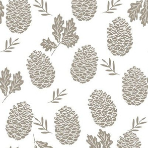 pinecone fabric // pinecone winter camping woodland linocut fabric - tan