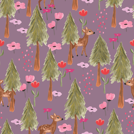 Fall 2017 deers in the forest in orchid fabric by thislittlestreet on Spoonflower - custom fabric