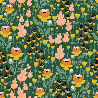 Fall 2017 acorn floral in green
