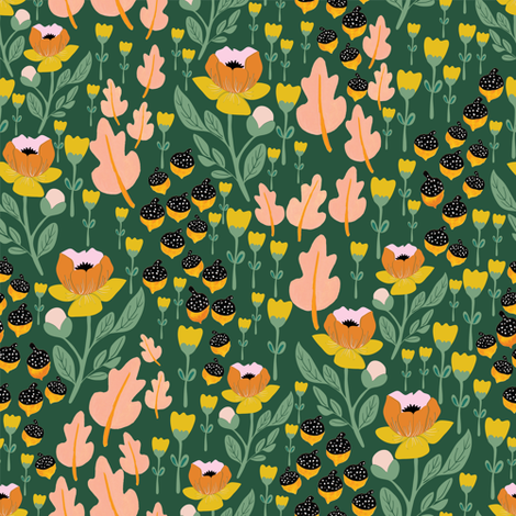Fall 2017 acorn floral in green fabric by thislittlestreet on Spoonflower - custom fabric