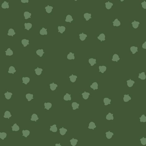 Fall 2017 acorns in green - big fabric by thislittlestreet on Spoonflower - custom fabric
