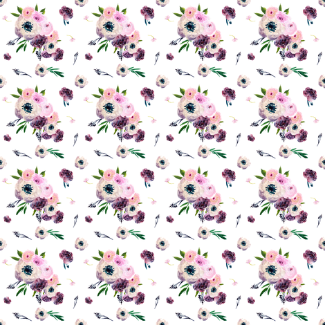 "2"" Dark Floral Print in White fabric by shopcabin on Spoonflower - custom fabric"