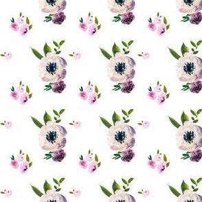 "2"" Dark Beauty Floral - Free Falling - White"