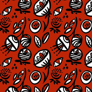 Abstract Flowers -Red