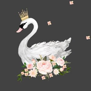 "8"" Swan With Roses / Grey"