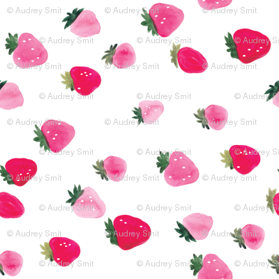 Watercolor strawberries - oversized sideways