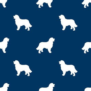 Bernese Mountain Dog silhouette dog breed pattern navy