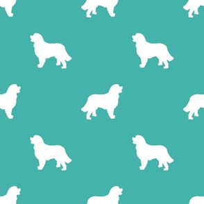 Bernese Mountain Dog silhouette dog breed pattern turquoise