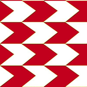 Red White and Faux Gold Chevron Stripes