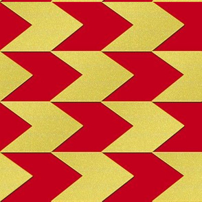Red and Faux Gold Chevron Stripes