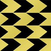 Black and Faux Gold Chevron Stripes