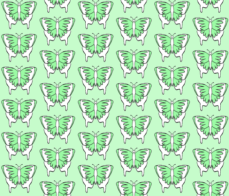 Butterfly 1- Green fabric by essieofwho on Spoonflower - custom fabric
