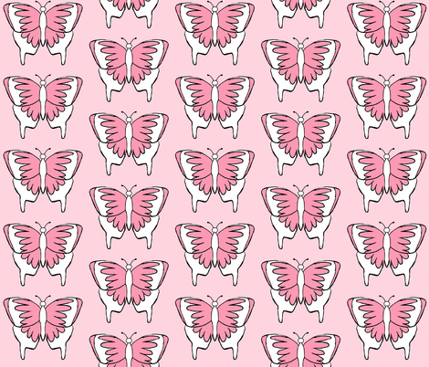 Butterfly 1- Pink fabric by essieofwho on Spoonflower - custom fabric
