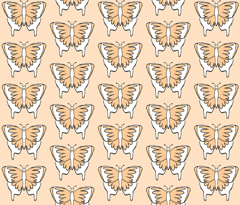 Butterfly 1- Peach fabric by essieofwho on Spoonflower - custom fabric