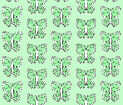 Butterfly 2- Green fabric by essieofwho on Spoonflower - custom fabric
