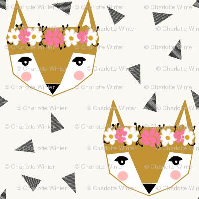 fox head flower crown fox head fabric