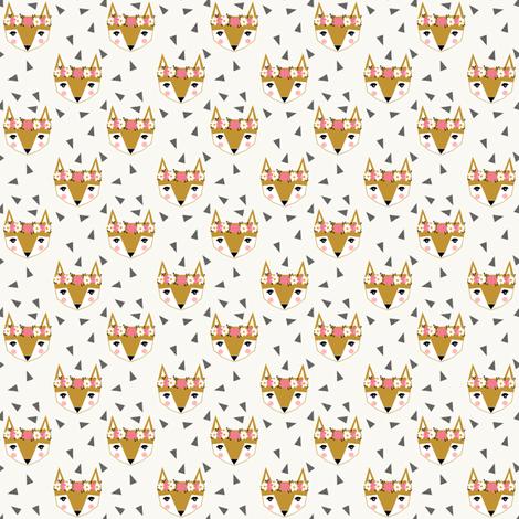 fox head flower crown fox head fabric fabric by charlottewinter on Spoonflower - custom fabric