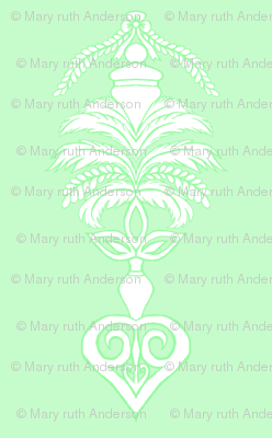 Feather Damask- Green