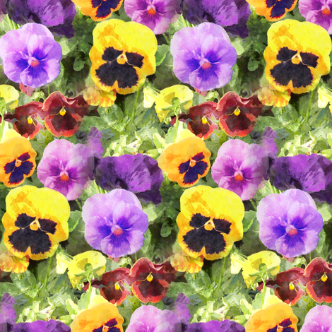 Pansy Flowers Watercolor fabric by linda_baysinger_peck on Spoonflower - custom fabric