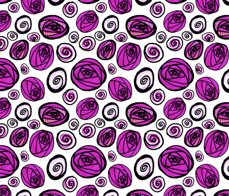 Pink Buds on White fabric by lesley_fitzpatrick on Spoonflower - custom fabric