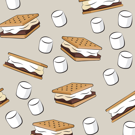 s'mores with marshmallows on beige fabric by littlearrowdesign on Spoonflower - custom fabric