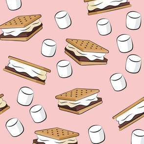 s'mores with marshmallows - pink