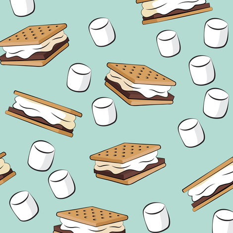 s'mores and marshmallows on dark mint fabric by littlearrowdesign on Spoonflower - custom fabric