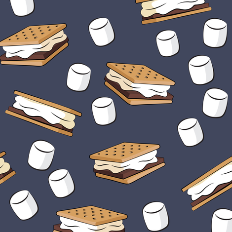 s'mores and marshmallows on adventure blue fabric by littlearrowdesign on Spoonflower - custom fabric