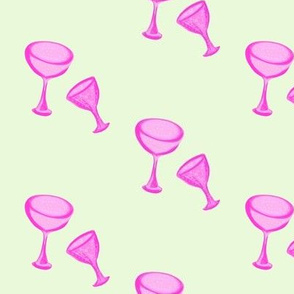 Tipsy Glasses of Pink Bubbly on Starlight Blue